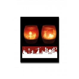 Svečnik za čajne svečke Orient, steklo + 1 čajna svečka