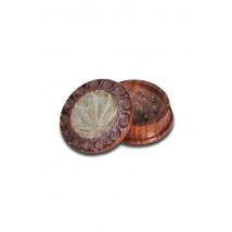Drobilec list, leseni, dvodelni, 44mm, izrezljan motiv ( 43 07 09S )