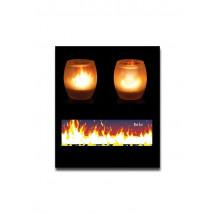 Svečnik za čajne svečke plameni, steklo + 1 čajna svečka